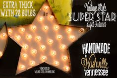 "Lighted Metal MARQUEE SIGN Light Fixture: Channelled Super Star Sign 30"" on Etsy, $235.00"