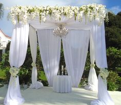 Stunning! White Wedding Arch with Orchids galore! - Four Seasons Flowers