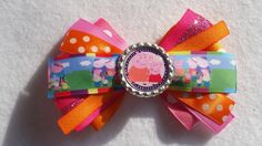 Peppa Pig Hair Bow (bow 2) party favors - pinned by pin4etsy.com