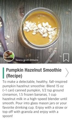 Pumpkin Hazelnut Smoothie (Recipe) - via @CureJoy