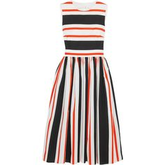 Dolce & Gabbana Cutout striped cotton-poplin dress ($1,860) ❤ liked on Polyvore featuring dresses, red, white dress, stripe dress, white cut out dress, cotton poplin dress and dolce gabbana dresses