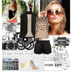 Perfect for a work day by bluejess on Polyvore featuring moda, RED Valentino, VILA, Diane Von Furstenberg, Miss Selfridge, Maison Margiela and Nikon