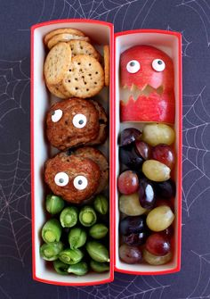 Vegan Lunch Ideas - Monster Meatballs | Martha Stewart Living - Most kids like meatballs and I'm lucky that both of my boys enjoy them cold. When I made this bento box, I added edible eyeballs to the meatballs and to the apple slices to turn them into monsters.