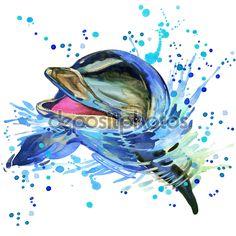 Afbeeldingsresultaat voor aquarel dolfijnen