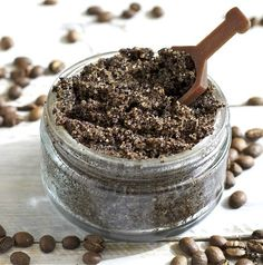 "DIY Coffee Scrub- spa products infused with coffee beans are the newest craze in skincare, and for good reason. This scrub seriously ""perked up"" my skin. It has never looked brighter or more glowing!! Good pin!"
