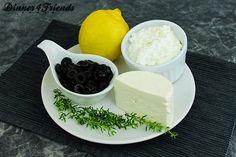 Brotaufstrich mit Feta und schwarzen Oliven