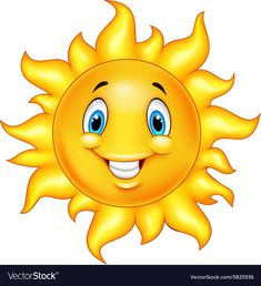 Cute cartoon sun vector image on VectorStock Cartoon Sun, Cute Cartoon, Sun Painting, Cute Sun, Emoji Images, Smileys, Cute Images, Vector Free, Art Projects