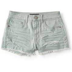 Aeropostale Seriously Stretchy High-Waisted Color Wash Denim Shorty... (€6,69) ❤ liked on Polyvore featuring shorts, bottoms, neon green, denim shorts, destroyed denim shorts, high waisted denim shorts, ripped denim shorts and ripped shorts