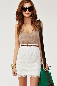 White Lace Skirt With Deep Neck T-Shirt Click for more