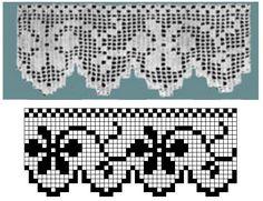 Filet Crochet Charts, Crochet Diagram, Crochet Stitches, Free Crochet, Crochet Boarders, Crochet Lace Edging, Crochet Doilies, Crochet Designs, Crochet Patterns