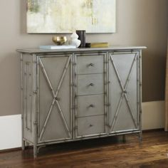 I want to remember this antique gray color and the bamboo look detailing   [Bianca Console by Ballard Designs]