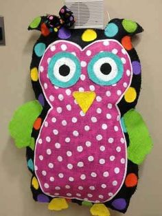 Items similar to Trendy Colorful Owl Door Hanger/ Wall Decor on Etsy Owl Door Hangers, Wall Hanger, Owl Door Decorations, Colorful Owl, Colorful Decor, Burlap Projects, Rag Quilt, Party Themes, Theme Ideas