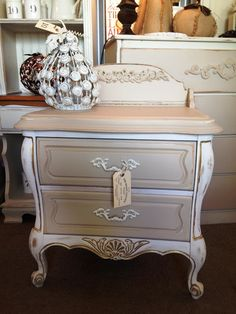 French Provençial Cottage White & Champagne Nightstand at The Shabby Cottage