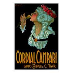 Cordial Campari Liquor ~ Vintage Italian Bar Decor Poster.