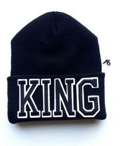 KING Beanie by Ashlei Shannon - Black on Black beanie with words