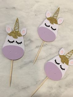 12 Count Glitter Unicorn Birthday Cupcake Toppers These toppers will be magical for your birthday party! - The price listed is for 1 set of 12 cupcake toppers - Each topper is about 1.5 wide. These items are very delicate, please practice caution while opening your package to avoid