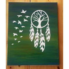 Dream catcher painting, tree dream catcher wall art, dream catcher with birds, acrylic painting on canvas, dream catcher gifts, canvas art by KayzAttic on Etsy