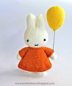 Free knitting pattern for bunny Miffy and her balloon plush toy pattern