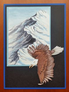 Eagle over the mountains. Made with Copics Scrapbook Cards, Scrapbooking, Copics, Art Blog, Moose Art, Eagle, Painting, Animals, Mountains