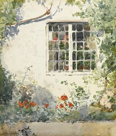 Childe Hassam (American, 1859-1935), Flowers against a white wall, c.1890.