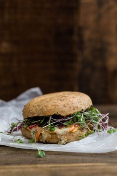'Groovy' Bagel Melt with hummus, havarti, and vegetables