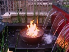 Fire pit with waterfall, I want this for my dream backyard