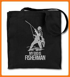 My God Is Fisherman Cool Funny Black Canvas Tote Bag, Cloth Shopping Shoulder Bag (*Partner Link)