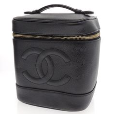 Authentic Chanel leather vanity cosmetic pouch