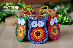 crochet-owl-ornaments  #diy #craft #owl