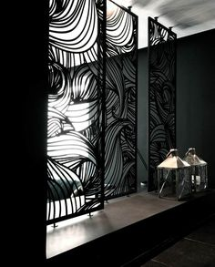 Moucharabieh - all about the very trendy piece of art and deco . Laser Cut Screens, Laser Cut Panels, Laser Cut Metal, Metal Panels, Privacy Fence Screen, Privacy Walls, Metal Room Divider, Room Dividers, Room Divider Screen