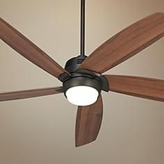 "56"" Casa Ecanto™ Oil-Rubbed Bronze LED Ceiling Fan I like ceiling fans where the lights don't ""poke down"". The sleek lines are much more appealing (I think)"