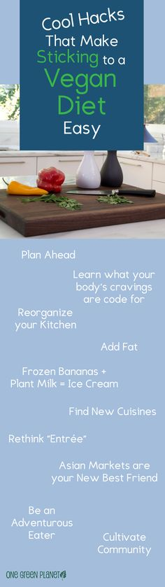 Here's a few great ideas for sticking to a vegan diet! #MyVeganJournal http://www.myveganjournal.com