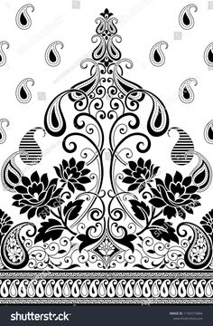 Find Seamless Paisley Traditional Black And White Pattern stock illustrations and royalty free photos in HD. Explore millions of stock photos, images, illustrations, and vectors in the Shutterstock creative collection. Batik Pattern, Paisley Pattern, Pattern Art, Print Patterns, Pattern Design, Black And White Flowers, Black And White Design, Folk Embroidery, Hand Embroidery Patterns