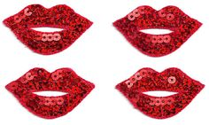 """( SET OF FOUR - 4 ) LIPS RED SEQUINED ( EACH 1 3/4""""W ) IRON ON APPLIQUES"""