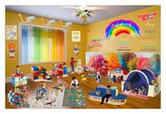 """Rainbow Brite's Play Room"" by pinky-dee ❤ liked on Polyvore featuring interior, interiors, interior design, home, home decor, interior decorating, NOVICA, Teamson Design, Guidecraft and KidKraft"