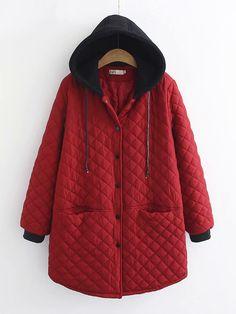 XXBlosom Mens Quilted Hooded Multi Pockets Zipper Up Parka Jacket Coat