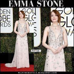 Emma Stone in silk star embellished gown red carpet golden globes