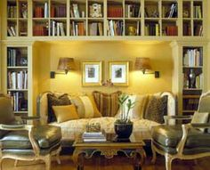 I'd go with a different color scheme and furniture style, but I LOVE the built-in book cases and the nook they create!