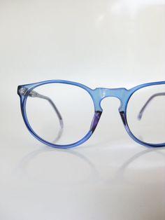 8bddc9da97 Vintage Blue Clear Eyeglasses Jean Lafont French Glasses Optical Frames  1960s Round P3 Light Pastel Transparent Sapphire 60s France Womens