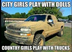 Country girls play with trucks