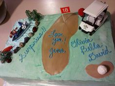 Golfing/Fishing Birthday Cake - Vanilla Bean Butter Chocolate Chip Cake dressed in Vanilla Buttercream