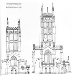 Line drawings of the west facade reveal the increased dignity and strength of proportion through developmental changes in design.