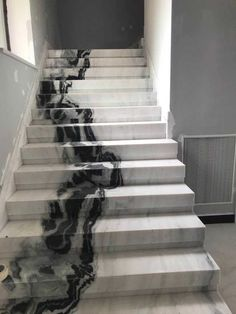 White marble stairs from CK Stones Thailand. This black and white marble . Panda White marble stairs from CK Stones Thailand. This black and white marble .,Panda White marble stairs from CK Stones Thailand. This black and whi. Dream Home Design, My Dream Home, Home Interior Design, Interior Decorating, House Design, Interior Garden, Design Interiors, Marble Staircase, Modern Staircase