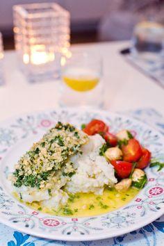 Rimmad torskrygg med parmesangremolata och blomkålsmos