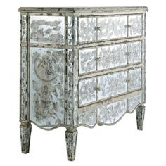 Distressed Glass Chest of Drawers by Candelabra Home.
