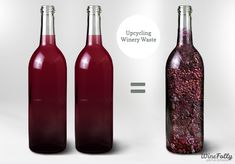 """Upcycling Winery Waste"" Apr-2013 by Winefolly.com - For every 2 bottles of Wine produced, there is a bottle of waste."