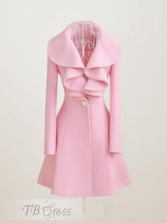 Pretty Exquisite Solid Color Falbala Coat