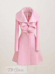 Pretty Exquisite Solid Color Falbala Coat