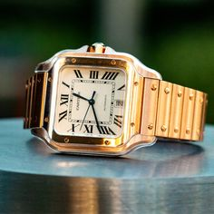 Silver dial with date displayed at 6 o'clock . Rose gold bracelet with double deployant clasp; Pre-owned with Cartier box and papers . Cartier Santos Watch, Cartier Watches, Fine Watches, Sport Watches, Watch Drawing, Running Watch, Wearable Technology, Luxury Watches For Men, Watch Sale