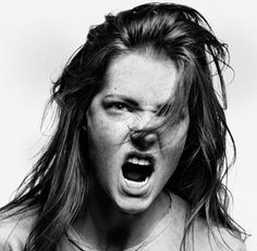 Powerful expression, intense, anger, portrait, photo b/w.